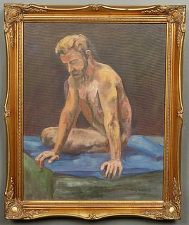"""Doug Arnold (20th c., American), """"Male Nude,"""" 1994, oil on canvas, signed and dated lower right, presented in a modern gilt frame, H.- 19 1/2 in., W.-"""