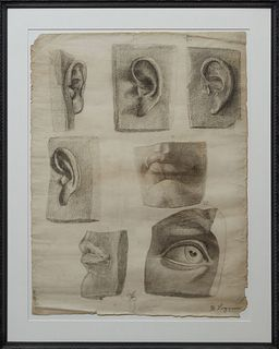 """M. Loggino, """"Studies of a Face,"""" 19th c., charcoal on paper, signed lower right, presented in an ebonized relief frame, H.- 24 in., W.-19 1/2 in.; fra"""