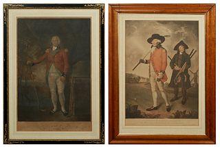 "William Ward (1766-1826, British) & Valentine Green (1739-1813, British), ""To the Society of Golfers at Blackheath,"" 19th c., pair of colored mezzotin"