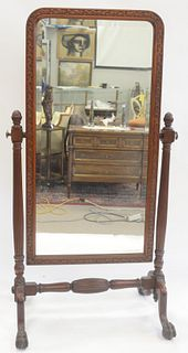 Chippendale Style Mahogany Cheval Mirror, height 74 inches, width 38 inches.