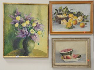 "Four Piece Group of Paintings, to include ""White Rose"", oil on canvas; still life with watermelons, oil on panel; still life of fruit; along with stil"