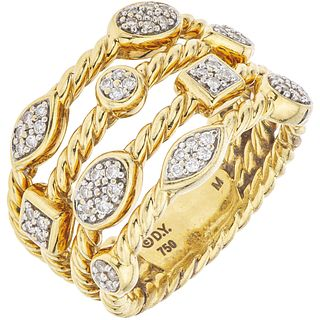 18K YELLOW GOLD RING WITH DIAMONDS, DAVID YURMAN 52 brilliant cut diamonds ~0.25 ct. Weight: 11.8 g. Size: 7¼