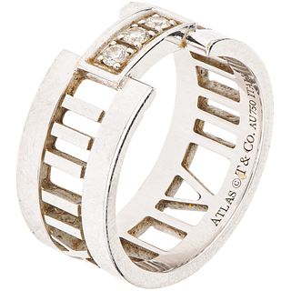 18K WHITE GOLD RING WITH DIAMONDS, TIFFANY & CO. 3 Brilliant cut diamonds ~0.09 ct. Weight: 7.0 g. Size: 6 ¼
