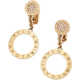 18K ROSE GOLD EARRINGS WITH DIAMONDS, BVLGARI 24 Brilliant cut diamonds ~0.16 ct. Weight: 18.3 g