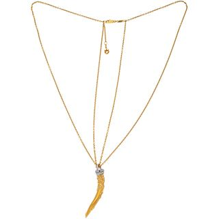 18K YELLOW AND WHITE GOLD NECKLACE AND PENDANT WITH DIAMONDS, CARRERA Y CARRERA, AVA COLLECTION 135 diamonds