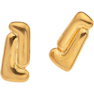 """PAIR OF 18K YELLOW GOLD EARRINGS, TANE Weight: 16.6 g. Size: 0.51 x 1"""" (1.3 x 2.7 cm)"""