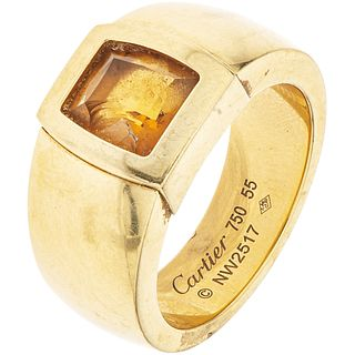 18K YELLOW GOLD CITRINE RING, CARTIER Fantasy cut citrine ~1.50 ct. Weight: 20.9 g. Size: 7 ¾