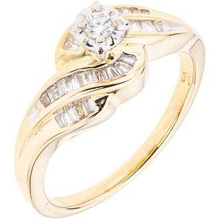 RING WITH DIAMONDS IN 14K YELLOW GOLD 29 Diamonds (different cuts) ~0.35 ct. Weight: 3.7 g. Size: 7