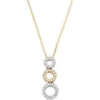 CHOKER AND PENDANT WITH DIAMONDS, YELLOW, WHITE, PINK 14K GOLD, 45 Brilliant cut diamonds ~0.45 ct. Weight: 5.1 g