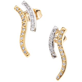 PAIR OF EARRINGS WITH DIAMONDS, YELLOW AND WHITE 14K GOLD 34 Brilliant cut diamonds ~0.22 ct. Weight: 4.4 g