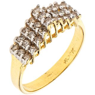 14K YELLOW GOLD RING WITH DIAMONDS 27 Brilliant cut diamonds ~0.38 ct. Weight: 3.2 g. Size: 6 ¾