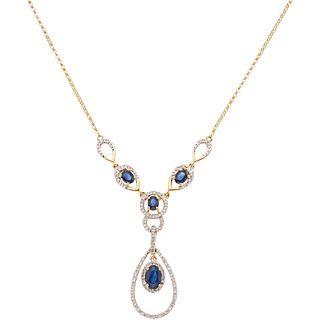CHOKER WITH SAPPHIRES AND DIAMONDS, 14K YELLOW GOLD 4 Oval cut sapphires ~0.85 ct and 74 8x8 cut diamonds ~0.50 ct