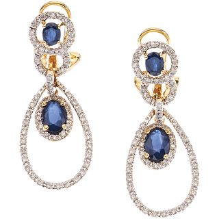 PAIR OF EARRINGS WITH SAPPHIRES AND DIAMONDS, 14K YELLOW GOLD 4 oval cut sapphires ~1.10 ct, 116 8x8 cut diamonds ~0.30 ct
