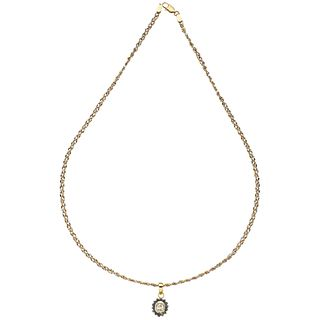 CHOKER AND PENDANT WITH SAPPHIRES AND DIAMONDS, 14K YELLOW, WHITE, PINK GOLD 14 Round cut sapphires, 1 diamond