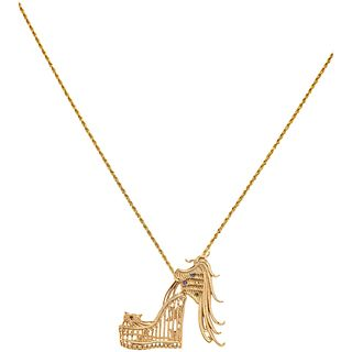 NECKLACE AND PENDANT IN 14K YELLOW GOLD, CERTIFICATE OF ANYA MYAGKIKH BRAND, Weight: 18.3 g