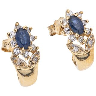PAIR OF EARRINGS WITH SAPPHIRES AND DIAMONDS IN 14K YELLOW GOLD 2 Oval cut sapphires~0.45ct, 20 8x8 and brilliant cut diamonds~0.3ct