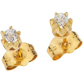"""PAIR OF STUD EARRINGS WITH DIAMONDS IN 14K YELLOW GOLD 2 Antique cut diamonds ~0.14 ct. Weight: 0.6 g.  Diameter: 0.1"""" (0.3 cm)"""