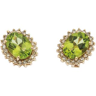 PAIR OF EARRINGS WITH PERIDOTS AND DIAMONDS IN 14K YELLOW GOLD 2 Oval cut peridotes ~2.0 ct, 40 8x8 cut diamonds ~0.20 ct