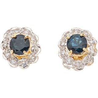 PAIR OF STUD EARRINGS WITH SAPPHIRES AND DIAMONDS IN 14K YELLOW GOLD AND PALLADIUM SILVER 2 Round cut diamonds, 20 8x8 cut diamonds