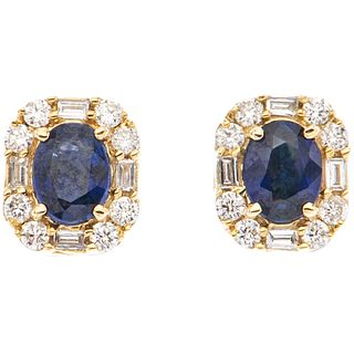 PAIR OF STUD EARRINGS WITH SAPPHIRES AND DIAMONDS IN 14K YELLOW GOLD 2 Oval cut sapphires ~0.30ct, 24 Diamonds (different cuts)~0.24ct