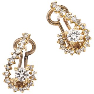 """PAIR OF EARRINGS WITH DIAMONDS IN 14K YELLOW GOLD 36 8x8 and brilliant cut diamonds ~1.18 ct. Weight: 3.9 g. Size: 0.35 x 0.59"""" (0.9 x 1.5 cm)"""