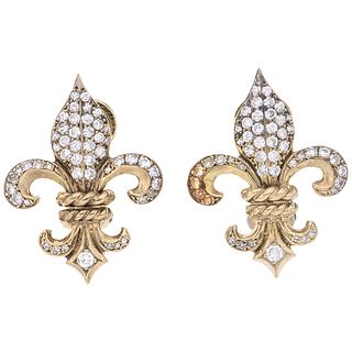 PAIR OF EARRINGS WITH DIAMONDS IN WHITE AND YELLOW 14K GOLD 96 8x8 and brilliant cut diamonds ~1.20 ct. Weight: 10.3 g