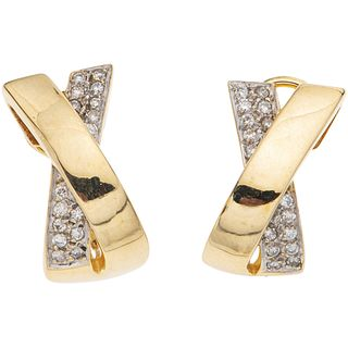 """PAIR OF DIAMOND EARRINGS IN 14K YELLOW GOLD 32 Brilliant cut diamonds ~0.32 ct. Weight: 9.5 g. Size: 0.4 x 0.78"""" (1.1 x 2 cm)"""