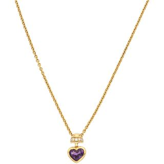 CHOKER AND PENDANT WITH AMETHYST AND DIAMONDS IN 18K YELLOW GOLD 1 Heart cut amethyst ~1.0 ct, 5 Diamonds...