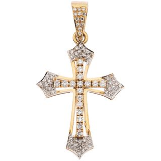 """CROSS WITH DIAMONDS IN 14K YELLOW GOLD 78 8x8 and brilliant cut diamonds ~1.10 ct. Weight: 7.4 g. Size: 1 x 1.8"""" (2.6 x 4.8 cm)"""