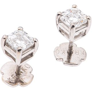 PAIR OF DIAMOND STUD EARRINGS IN 18K WHITE GOLD 2 Emerald cut diamonds ~1.70 ct Clarity: VS2-SI1 Color: I