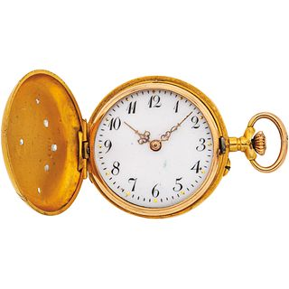 POCKET WATCH WITH DIAMONDS IN 18K YELLOW GOLD Movement: manual (doesn't work, requires service). Weight: 16.7 g