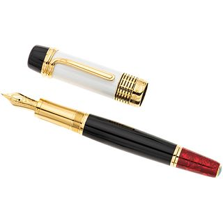 MONTBLANC LUCIANO PAVAROTTI FOUNTAIN PEN IN LACQUER, PLATE AND 18K YELLOW GOLD