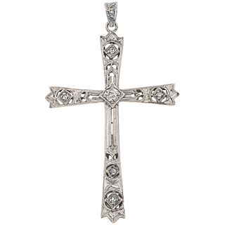 """CROSS WITH DIAMONDS IN SILVER AND 10K WHITE GOLD 7 Antique cut faceted diamonds ~0.08 ct. Weight: 2.7 g. Size: 1 x 1.8"""" (2.7 x 4.6 cm)"""