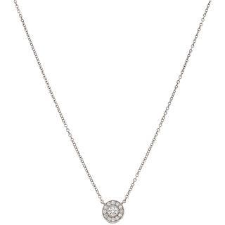 GARGANTILLA CON DIAMANTES EN PLATINO .950 DE LA FIRMA TIFFANY & CO. con 13 diamantes corte brillante ~0.12 ct. Peso: 2.6 g