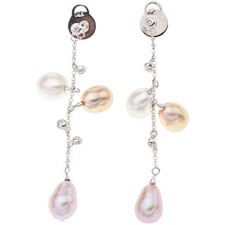 PAIR OF EARRINGS WITH CULTIVATED PEARLS AND DIAMONDS IN 14K WHITE GOLD 6 Multicolor pearls, 8 Brilliant cut diamonds ~0.05 ct