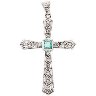 CROSS WITH EMERALD AND DIAMONDS IN PALLADIUM SILVER 1 Square cut emeralds ~0.30 ct, 16 8x8 cut diamonds ~0.16 ct