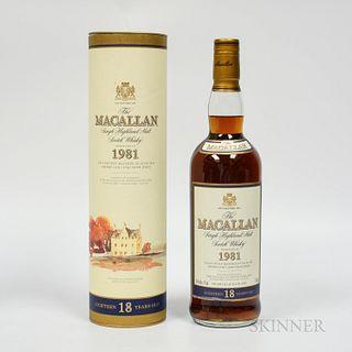Macallan 18 Years Old 1981, 1 750ml bottle (ot)