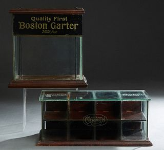 """Two Countertop Wood and Glass Advertising Display Cases, c. 1900, one for """"Boston Garter,"""" and one for """"Carmen"""" handkerchiefs, Boston- H.- 14 1/4 in.,"""