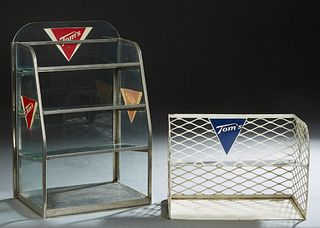 Two Tom's Products Countertop Advertising Items, 20th c., one a tapering glass case with glass shelves; the second an open metal shelf, both with the