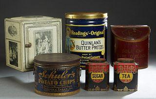 Group of Six Tole Advertising Items, c. 1900, consisting of a John Buchanan tea and sugar canister; a circular Schuler's potato chip box; a circular c