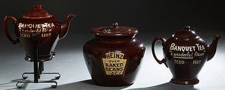 """Three Country Store Brown Glazed Ceramic Countertop Advertising Items, early 20th c,., consisting of two """"Banquet Tea- A Wonderful Flavor, Iced or Hot"""