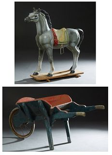 Two Children's Country Store Display Items, early 20th c., consisting of a small wooden wheelbarrow and a papier mache horse, formerly on wheels, Hors