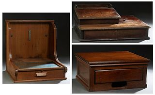 """Group of Three Carved Oak Country Store Tills, early 20th c., one labeled """"McKaskey Account Register,"""" each containing a divided money drawer, McKaske"""
