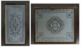Two Etched Frosted Glass Panels, late 19th c., presented in oak frames, H.- 15 3/4 in., W.- 18 3/4 in; and H.- 20 1/2 in., W.- 10 5/8 in. (2 Pcs.)