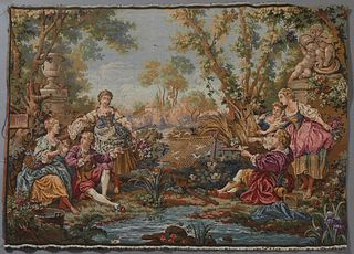 French Tapestry, 20th c., in the 18th c. style, depicting an outdoor scene with a fisherman and revelers, unframed, H.- 39 in., W.- 54 in.