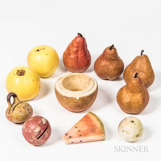 Small Group of Carved and Cast Fruit and Fruit-form Objects,mostly 20th century, including banks