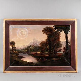 Manner of Erastus Salisbury Field (Massachusetts, 1805-1900)  Fantastic Allegorical Landscape. Unsigned. Oil on canvas, the exotic landscape with moun