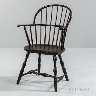 Brown-painted Sack-back Windsor Chair,New England, late 18th century