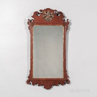 Mahogany Veneer Scroll-frame Looking Glass,England, late 18th/early 19th century