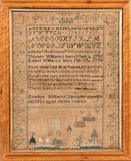 "Needlework Sampler ""Emeline Williams,""probably New England, 1826"